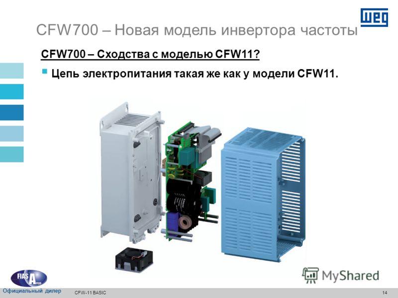 13 Степень защиты для корпуса (стандартная): IP20 для габаритов A, B, C и E* IP20/Nema1 для габарита D CFW700 – Новая модель инвертора частоты * У габаритов A, B и C колпак не входит в стандартную комплектацию. Size C Size D CFW-11 BASIC Официальный