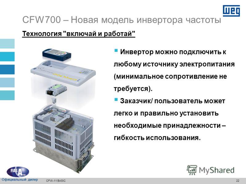 21 Вентилятор теплоотвода включается и отключается автоматически, в зависимости от температуры силовых модулей. Вентилятор можно легко снять для очистки или замены. CFW700 – Новая модель инвертора частоты CFW-11 BASIC Официальный дилер