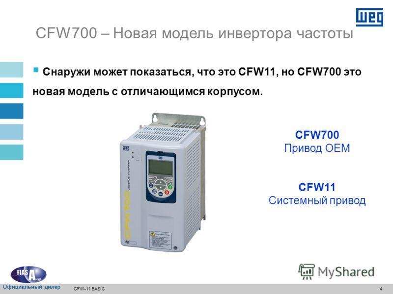 3 Новая серия инверторов, оптимизированных в части затрат/ преимуществ, основанных на CFW11: Оптимизированное решение для рынка оборудования, функционирующего на условиях комплектных поставок Связь: CANopen, Profibus-DP, DeviceNet и Modbus-RTU Новая