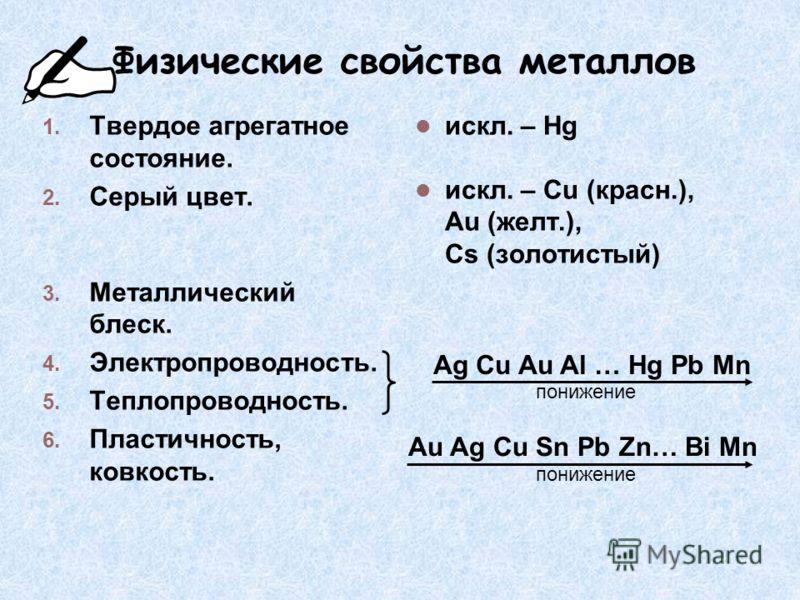 Физические свойства металлов 1. Твердое агрегатное состояние. 2. Серый цвет. 3. Металлический блеск. 4. Электропроводность. 5. Теплопроводность. 6. Пластичность, ковкость. искл. – Hg искл. – Cu (красн.), Au (желт.), Cs (золотистый) Ag Cu Au Al … Hg P