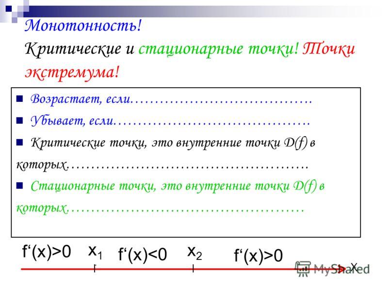Монотонность! Критические и стационарные точки! Точки экстремума! Возрастает, если………………………………. Убывает, если…………………………………. Критические точки, это внутренние точки Д(f) в которых…………………………………………. Стационарные точки, это внутренние точки Д(f) в которы