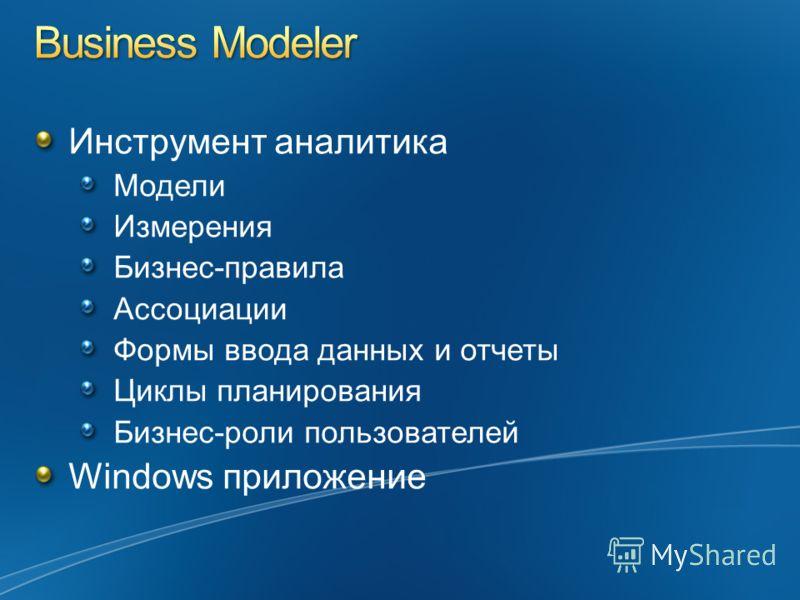 Инструмент аналитика Модели Измерения Бизнес-правила Ассоциации Формы ввода данных и отчеты Циклы планирования Бизнес-роли пользователей Windows приложение