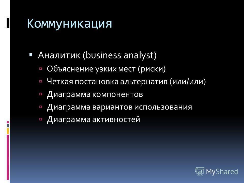 Коммуникация Аналитик (business analyst) Объяснение узких мест (риски) Четкая постановка альтернатив (или/или) Диаграмма компонентов Диаграмма вариантов использования Диаграмма активностей