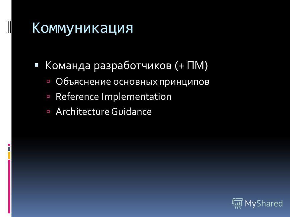 Коммуникация Команда разработчиков (+ ПМ) Объяснение основных принципов Reference Implementation Architecture Guidance