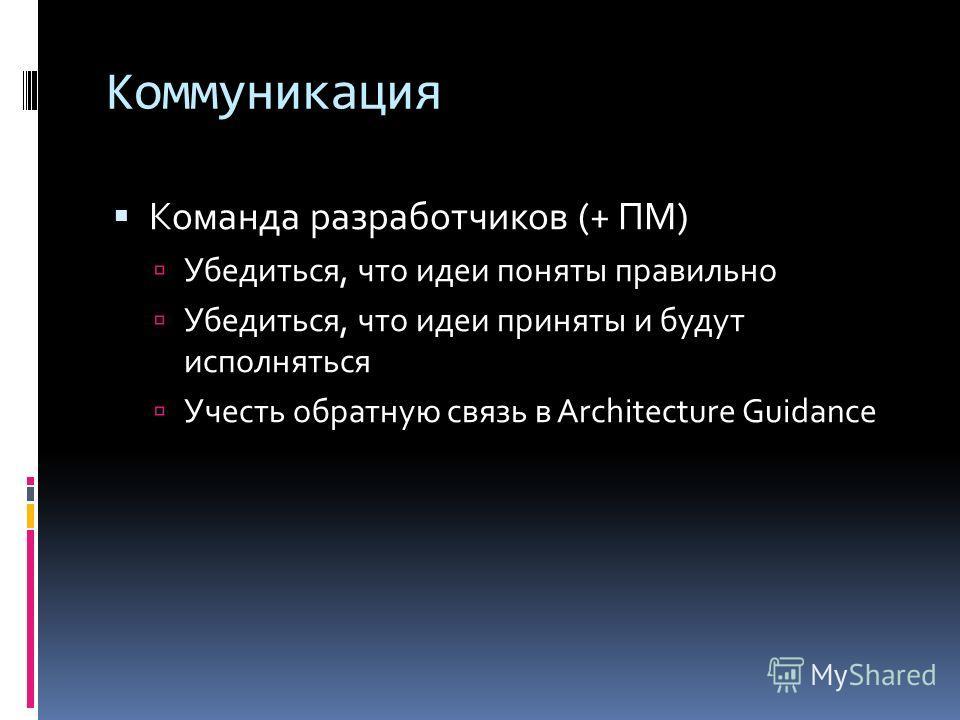 Коммуникация Команда разработчиков (+ ПМ) Убедиться, что идеи поняты правильно Убедиться, что идеи приняты и будут исполняться Учесть обратную связь в Architecture Guidance