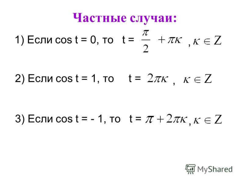 Частные случаи: 1) Если cos t = 0, то t =, 2) Если cos t = 1, то t =, 3) Если cos t = - 1, то t =,