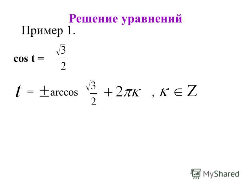 Решение уравнений Пример 1. cos t =,= arccos