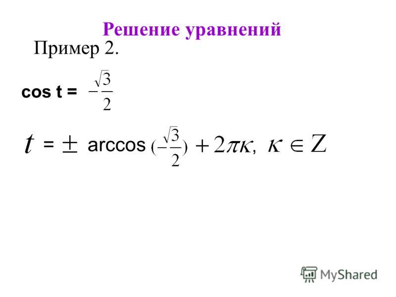 Решение уравнений Пример 2. cos t =, = arccos a