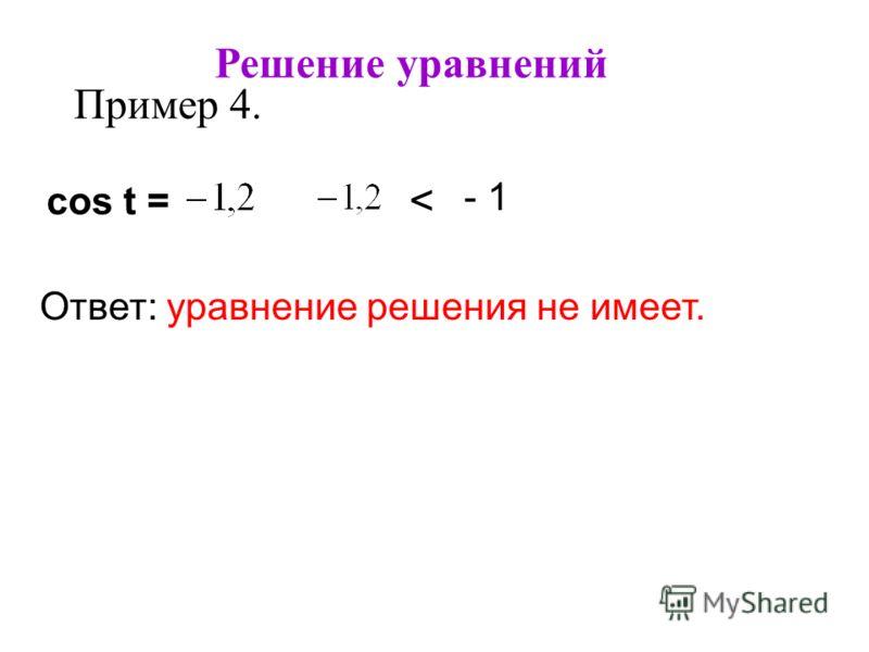 Решение уравнений Пример 4. cos t = Ответ: уравнение решения не имеет. < - 1
