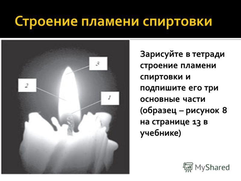 Зарисуйте в тетради строение пламени спиртовки и подпишите его три основные части (образец – рисунок 8 на странице 13 в учебнике)
