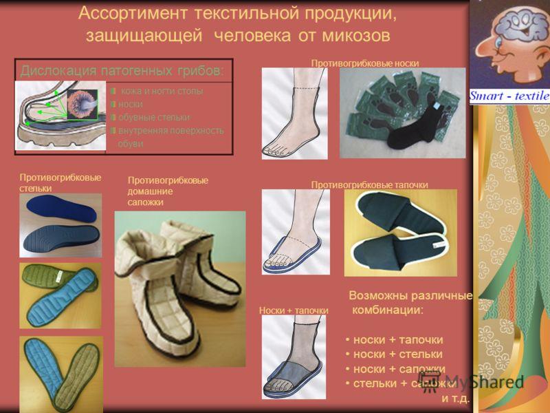 Ассортимент текстильной продукции, защищающей человека от микозов Дислокация патогенных грибов: кожа и ногти стопы носки обувные стельки внутренняя поверхность обуви Противогрибковые носки Противогрибковые тапочки Носки + тапочки Противогрибковые сте
