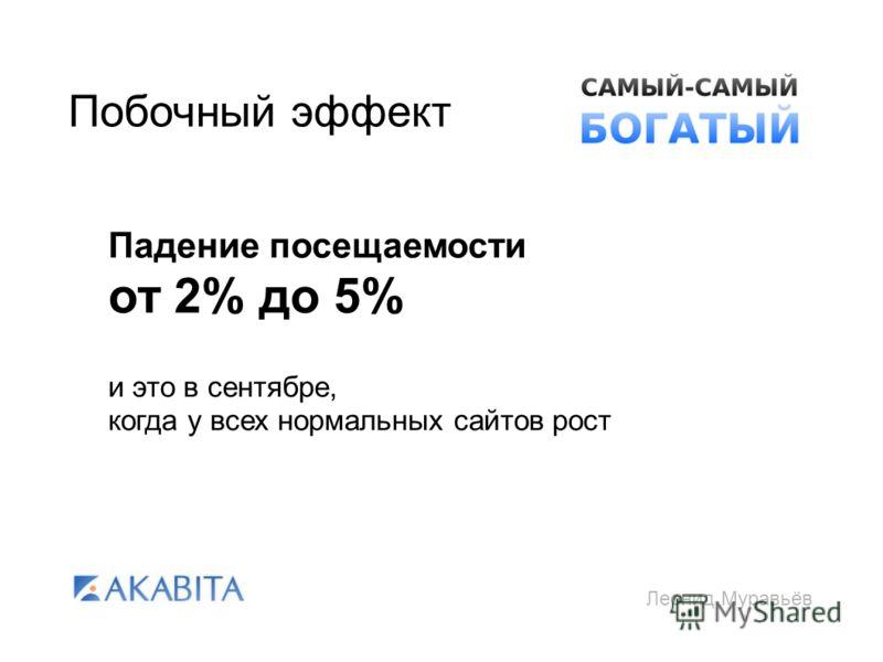 Леонид Муравьёв Побочный эффект Падение посещаемости от 2% до 5% и это в сентябре, когда у всех нормальных сайтов рост