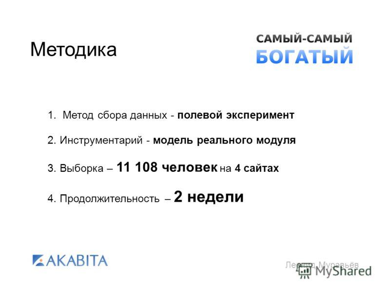 Леонид Муравьёв Методика 1. Метод сбора данных - полевой эксперимент 2. Инструментарий - модель реального модуля 3. Выборка – 11 108 человек на 4 сайтах 4. Продолжительность – 2 недели