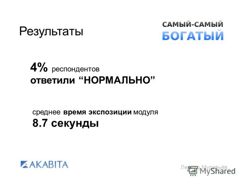 Леонид Муравьёв Результаты 4% респондентов ответили НОРМАЛЬНО среднее время экспозиции модуля 8.7 секунды