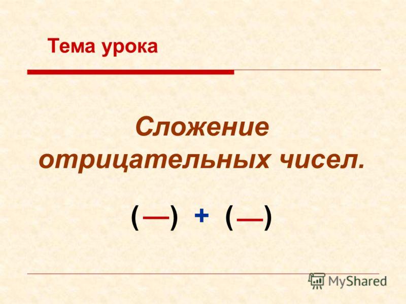 Сложение отрицательных чисел. Тема урока ( ) + ( )