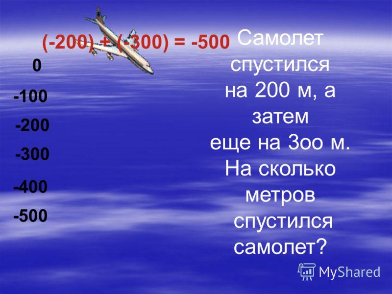 Самолет спустился на 200 м, а затем еще на 3оо м. На сколько метров спустился самолет? 0 -100 -200 -300 -400 -500 (-200) + (-300) = -500