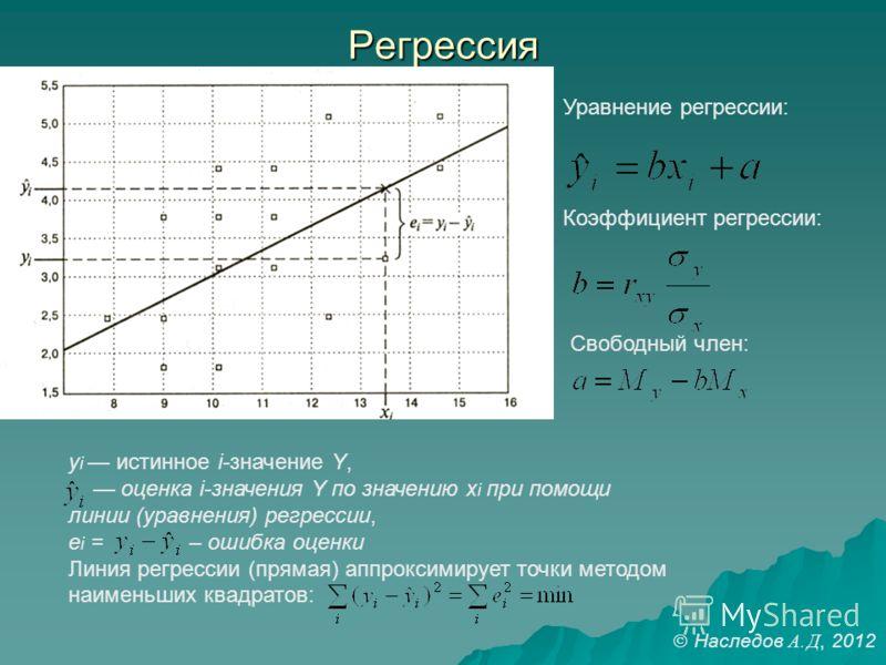 Регрессия y i истинное i-значение Y, оценка i-значения Y по значению x i при помощи линии (уравнения) регрессии, e i = – ошибка оценки Линия регрессии (прямая) аппроксимирует точки методом наименьших квадратов: Уравнение регрессии: Коэффициент регрес