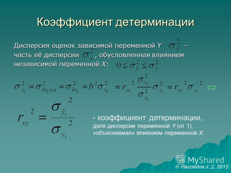 Коэффициент детерминации Дисперсия оценок зависимой переменной Y – часть её дисперсии, обусловленная влиянием независимой переменной X: - коэффициент детерминации, доля дисперсии переменной Y (от 1), «объясняемая» влиянием переменной X. Наследов А. Д