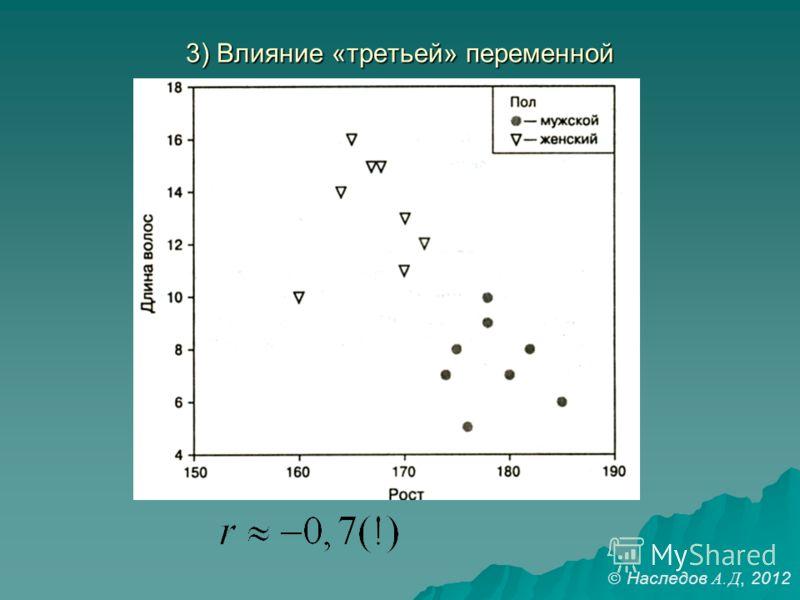 3) Влияние «третьей» переменной Наследов А. Д, 2012