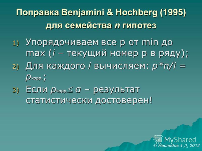 Поправка Benjamini & Hochberg (1995) для семейства n гипотез 1) Упорядочиваем все p от min до max (i – текущий номер p в ряду); 2) Для каждого i вычисляем: p*n/i = p корр. ; 3) Если p корр. α – результат статистически достоверен! Наследов А. Д, 2012