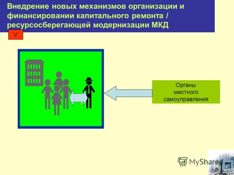 Внедрение новых механизмов организации и финансировании капитального ремонта / ресурсосберегающей модернизации МКД Органы местного самоуправления V