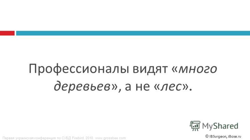 Первая украинская конференция по СУБД Firebird. 2010. www.grossbee.com © IBSurgeon, iBase.ru Профессионалы видят « много деревьев », а не « лес ».