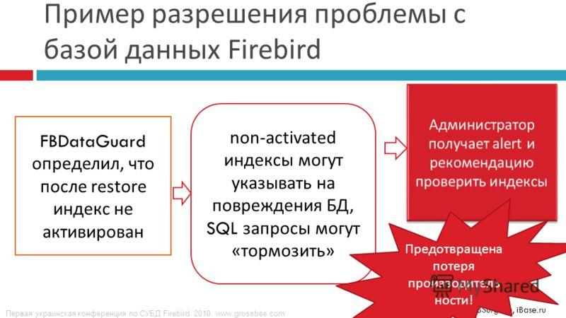 Первая украинская конференция по СУБД Firebird. 2010. www.grossbee.com © IBSurgeon, iBase.ru Пример разрешения проблемы с базой данных Firebird FBDataGuard определил, что после restore индекс не активирован non-activated индексы могут указывать на по