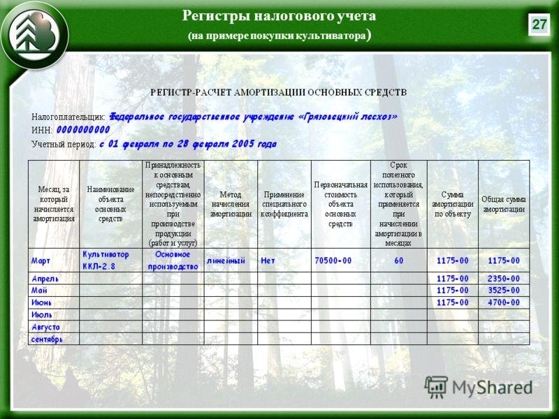27 Регистры налогового учета (на примере покупки культиватора )