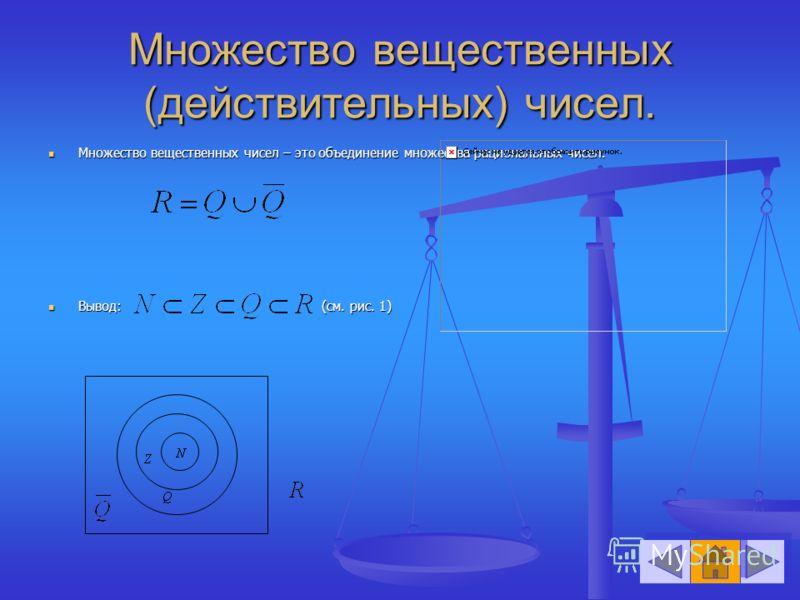 Множество вещественных (действительных) чисел. Множество вещественных чисел – это объединение множества рациональных чисел. Множество вещественных чисел – это объединение множества рациональных чисел. Вывод: (см. рис. 1) Вывод: (см. рис. 1)