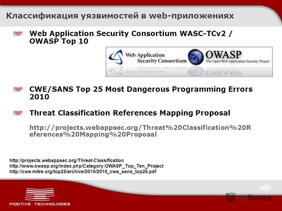 Классификация уязвимостей в web-приложениях Web Application Security Consortium WASC-TCv2 / OWASP Top 10 CWE/SANS Top 25 Most Dangerous Programming Errors 2010 Threat Classification References Mapping Proposal http://projects.webappsec.org/Threat%20C