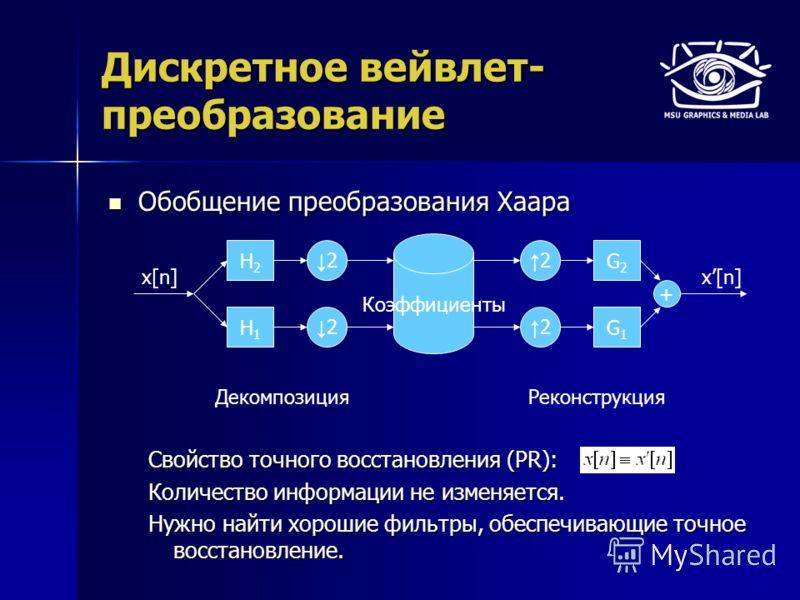Дискретное вейвлет- преобразование Обобщение преобразования Хаара Обобщение преобразования Хаара Свойство точного восстановления (PR): Количество информации не изменяется. Нужно найти хорошие фильтры, обеспечивающие точное восстановление. H2H2 H1H1 2
