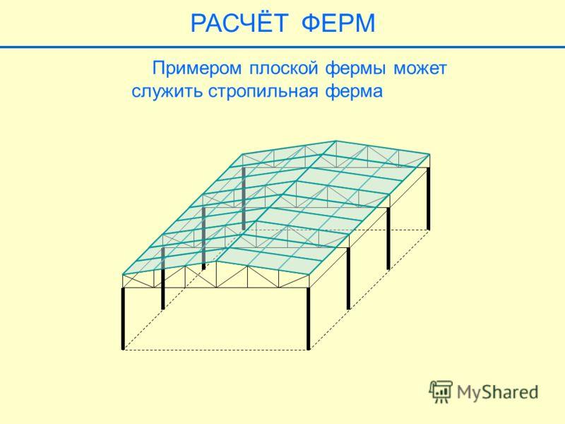 Примером плоской фермы может служить стропильная ферма