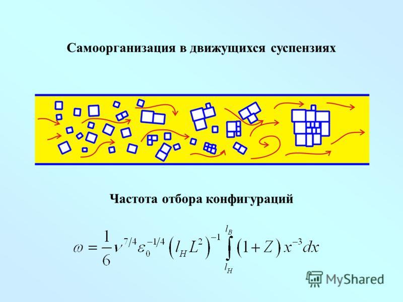 Самоорганизация в движущихся суспензиях Частота отбора конфигураций