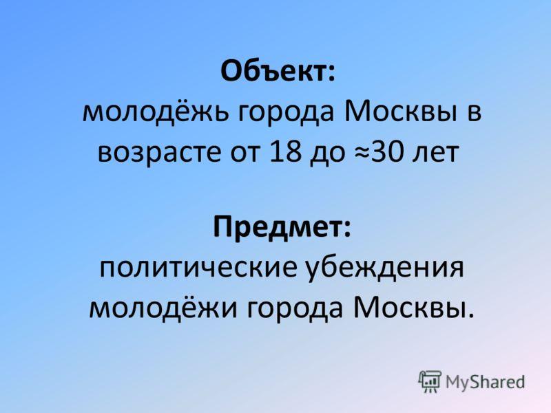 Объект: молодёжь города Москвы в возрасте от 18 до 30 лет Предмет: политические убеждения молодёжи города Москвы.