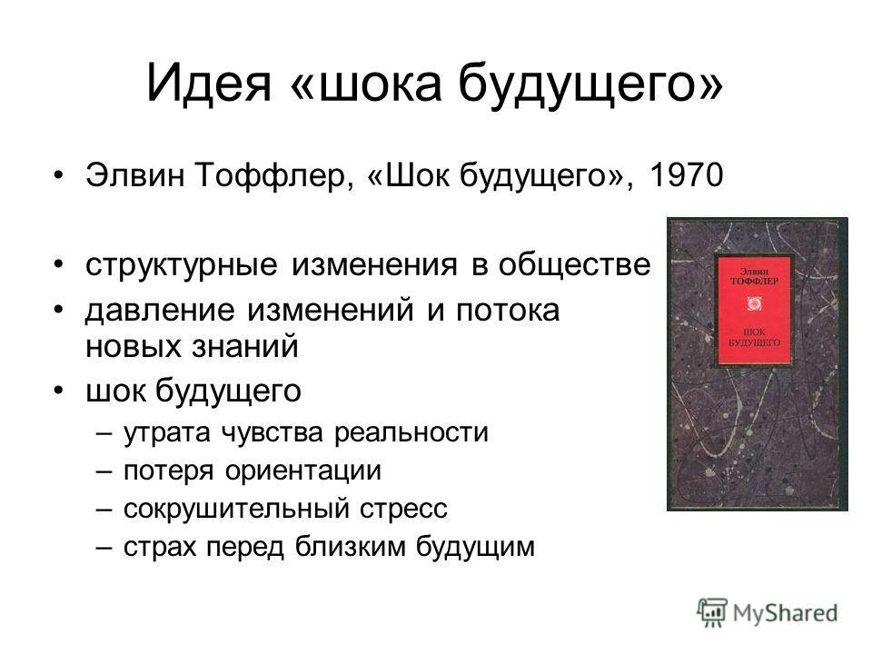 Идея «шока будущего» Элвин Тоффлер, «Шок будущего», 1970 структурные изменения в обществе давление изменений и потока новых знаний шок будущего –утрата чувства реальности –потеря ориентации –сокрушительный стресс –страх перед близким будущим
