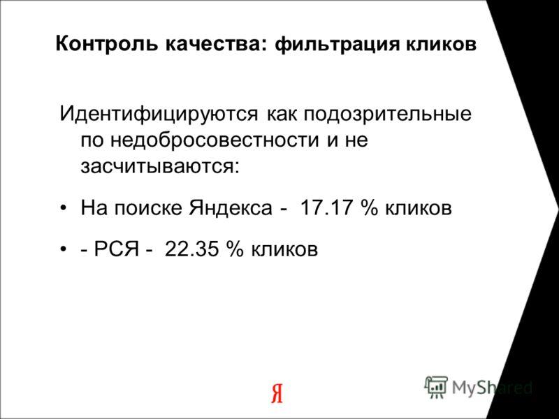 Контроль качества: фильтрация кликов Идентифицируются как подозрительные по недобросовестности и не засчитываются: На поиске Яндекса - 17.17 % кликов - РСЯ - 22.35 % кликов