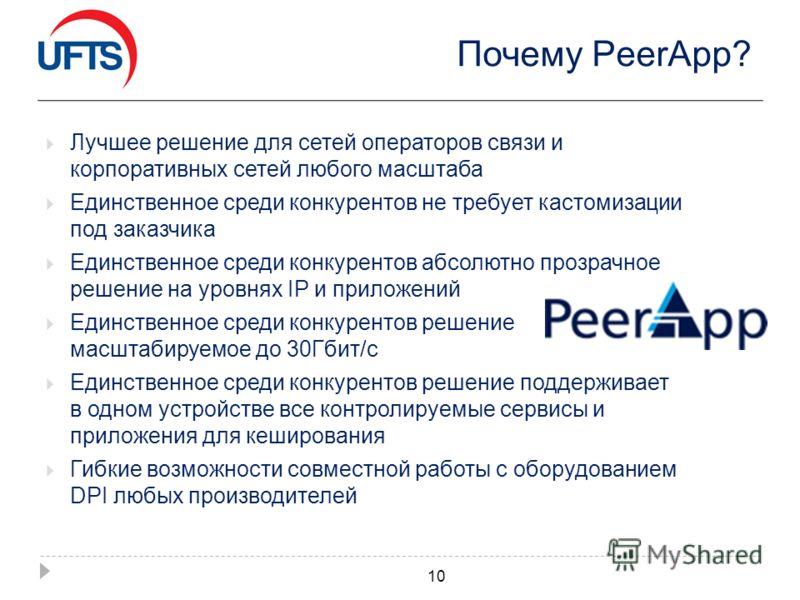 Почему PeerApp? Лучшее решение для сетей операторов связи и корпоративных сетей любого масштаба Единственное среди конкурентов не требует кастомизации под заказчика Единственное среди конкурентов абсолютно прозрачное решение на уровнях IP и приложени