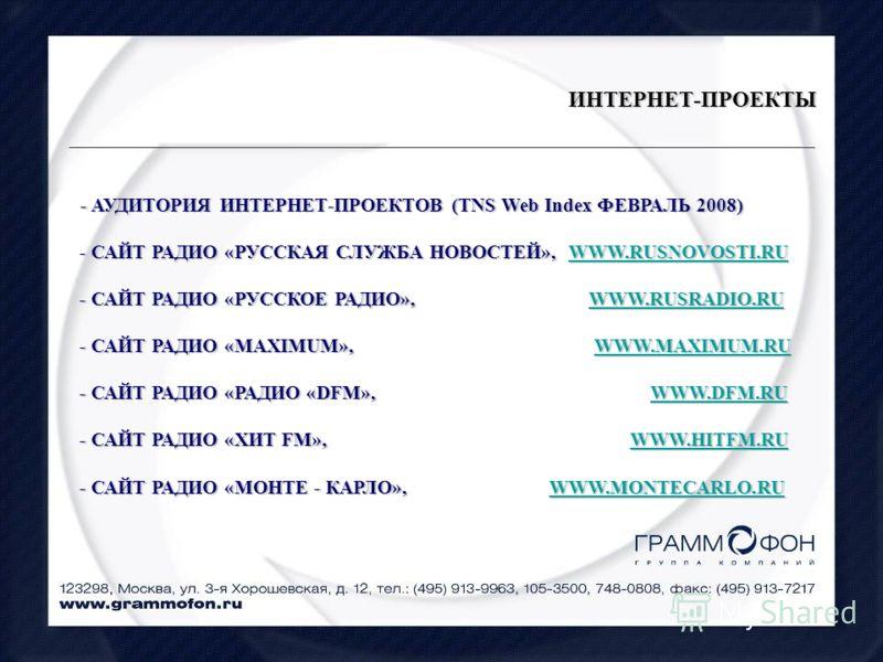 ИНТЕРНЕТ-ПРОЕКТЫ - АУДИТОРИЯ ИНТЕРНЕТ-ПРОЕКТОВ (TNS Web Index ФЕВРАЛЬ 2008) - АУДИТОРИЯ ИНТЕРНЕТ-ПРОЕКТОВ (TNS Web Index ФЕВРАЛЬ 2008) - САЙТ РАДИО «РУССКАЯ СЛУЖБА НОВОСТЕЙ», WWW.RUSNOVOSTI.RU - САЙТ РАДИО «РУССКАЯ СЛУЖБА НОВОСТЕЙ», WWW.RUSNOVOSTI.RU