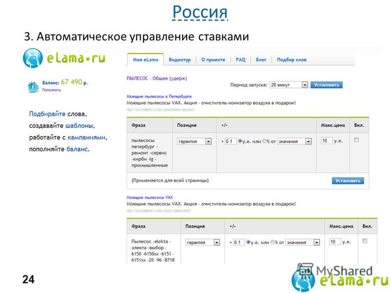 3. Автоматическое управление ставками eLama.ru Р-Брокер 24 Россия