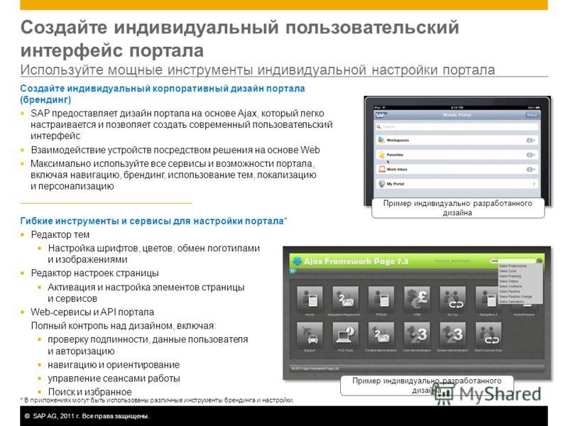 ©SAP AG, 2011 г. Все права защищены. Создайте индивидуальный пользовательский интерфейс портала Используйте мощные инструменты индивидуальной настройки портала Создайте индивидуальный корпоративный дизайн портала (брендинг) SAP предоставляет дизайн п