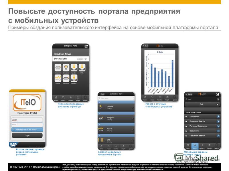 ©SAP AG, 2011 г. Все права защищены. Повысьте доступность портала предприятия с мобильных устройств Примеры создания пользовательского интерфейса на основе мобильной платформы портала Использование страницы входа в мобильных решениях Персонализирован