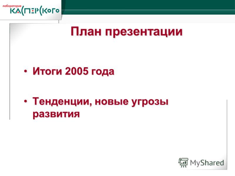Kaspersky Labs 6 ht Annual Partner Conference · Turkey, June 2-6 2004 Kaspersky Labs 6 th Annual Partner Conference · Turkey, 2-6 June 2004 Итоги 2005 годаИтоги 2005 года Тенденции, новые угрозы развитияТенденции, новые угрозы развития План презентац