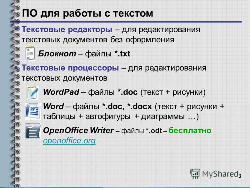 3 ПО для работы с текстом Текстовые редакторы – для редактирования текстовых документов без оформления Блокнот – файлы *.txt Текстовые процессоры – для редактирования текстовых документов WordPad – файлы *.doc (текст + рисунки) Word – файлы *.doc, *.