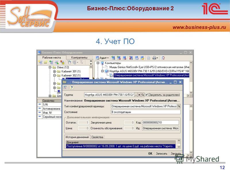 www.business-plus.ru Бизнес-Плюс:Оборудование 2 12 4. Учет ПО