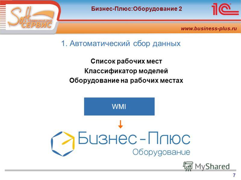 www.business-plus.ru Бизнес-Плюс:Оборудование 2 7 1. Автоматический сбор данных Список рабочих мест Классификатор моделей Оборудование на рабочих местах WMI