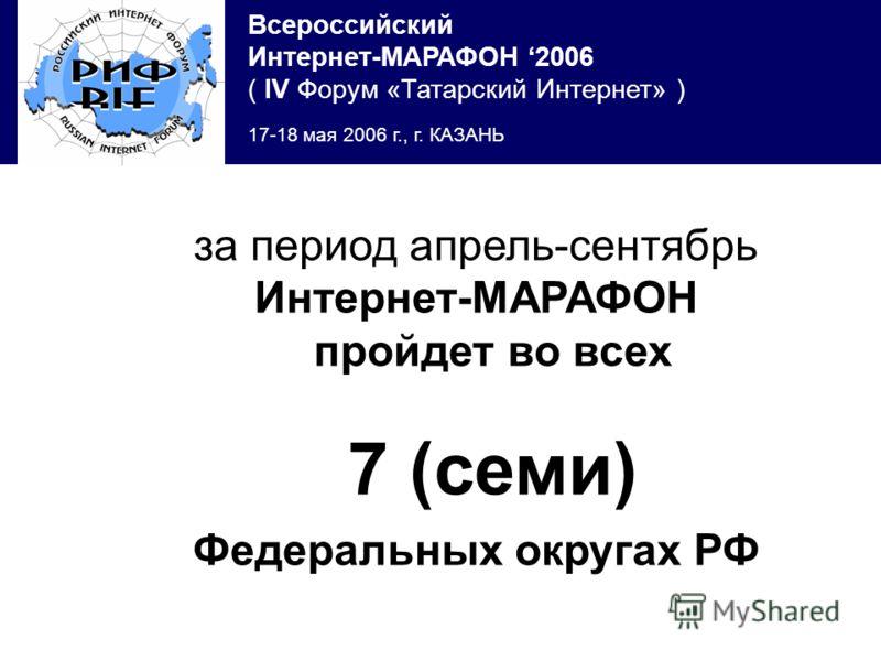 Всероссийский Интернет-МАРАФОН 2006 ( IV Форум «Татарский Интернет» ) 17-18 мая 2006 г., г. КАЗАНЬ за период апрель-сентябрь Интернет-МАРАФОН пройдет во всех 7 (семи) Федеральных округах РФ
