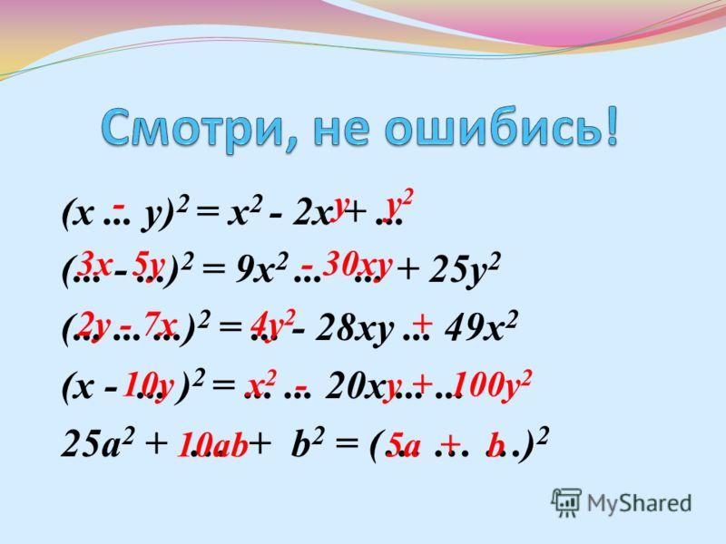 (х... у) 2 = х 2 - 2х +... (... -...) 2 = 9х 2...... + 25у 2 (.........) 2 =... - 28ху... 49х 2 (х -... ) 2 =...... 20х...... 25a 2 + … + b 2 = (… … …) 2 - у y 2 3x 5y - 30xy 2y - 7x 4y 2 + 10y x 2 - у + 100y 2 10ab 5a + b