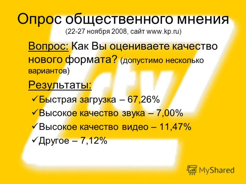 26 Вопрос: Как Вы оцениваете качество нового формата? (допустимо несколько вариантов) Результаты: Быстрая загрузка – 67,26% Высокое качество звука – 7,00% Высокое качество видео – 11,47% Другое – 7,12% Опрос общественного мнения (22-27 ноября 2008, с