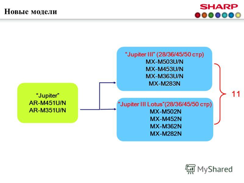 Новые модели 11 Jupiter AR-M451U/N AR-M351U/N Jupiter III (28/36/45/50 стр)MX-M503U/NMX-M453U/NMX-M363U/NMX-M283N Jupiter III Lotus(28/36/45/50 стр) MX-M502N MX-M452N MX-M362N MX-M282N