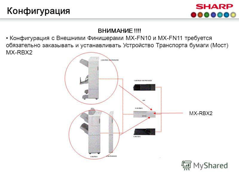 ВНИМАНИЕ !!!! К онфигураци я с Внешними Финишерами MX-FN10 и MX-FN11 требуется обязательно заказывать и устанавливать Устройство Транспорта бумаги (Мост) MX-RBX2 Конфигурация MX-RBX2